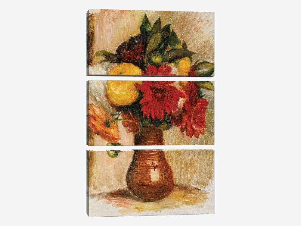Bouquet of Flowers in a Stone Jug  by Pierre-Auguste Renoir 3-piece Canvas Artwork