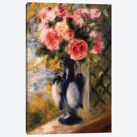 Roses in a Blue Vase, 1892  Canvas Print #BMN5079} by Pierre-Auguste Renoir Canvas Art