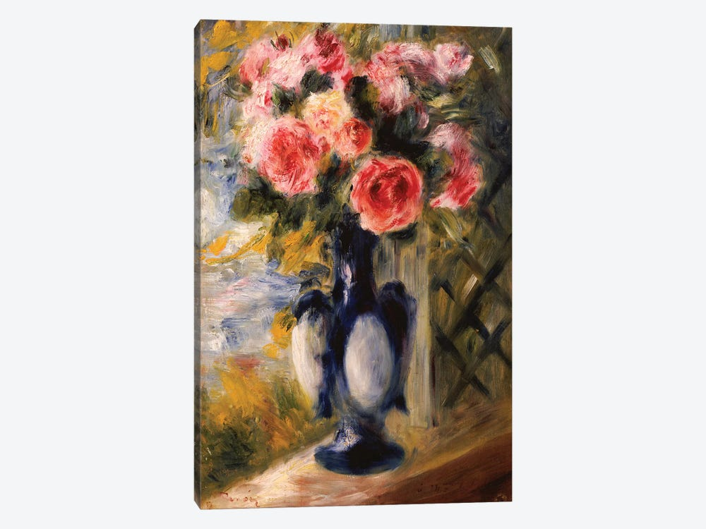 Roses in a Blue Vase, 1892  by Pierre-Auguste Renoir 1-piece Canvas Print