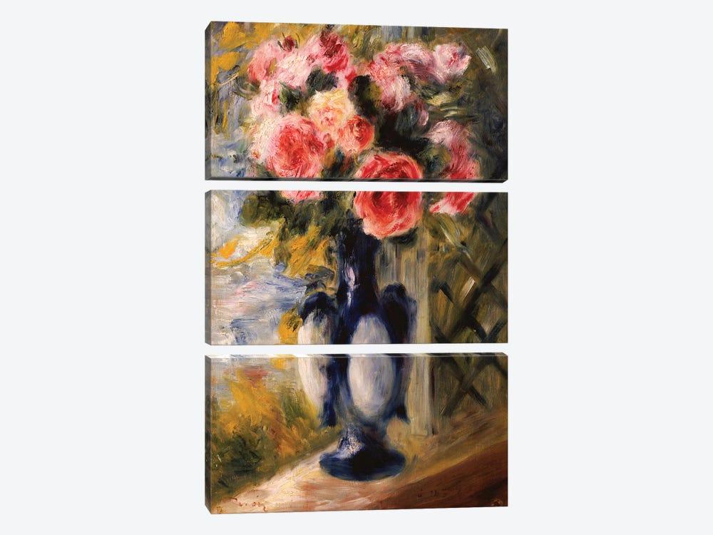 Roses in a Blue Vase, 1892  by Pierre-Auguste Renoir 3-piece Canvas Art Print