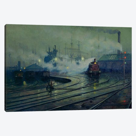 Cardiff Docks, 1896  Canvas Print #BMN507} by Lionel Walden Canvas Art