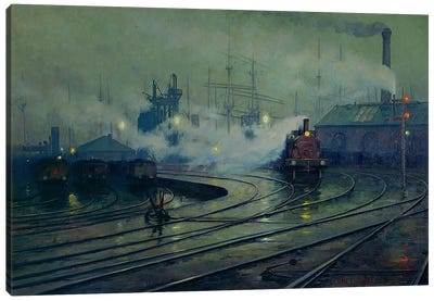 Cardiff Docks, 1896 Canvas Art Print