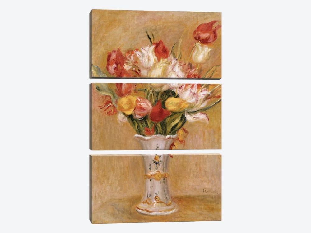 Tulips  by Pierre-Auguste Renoir 3-piece Canvas Art Print