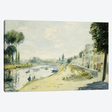 The Banks of the Seine at Bougival, c.1875  Canvas Print #BMN5083} by Pierre-Auguste Renoir Art Print