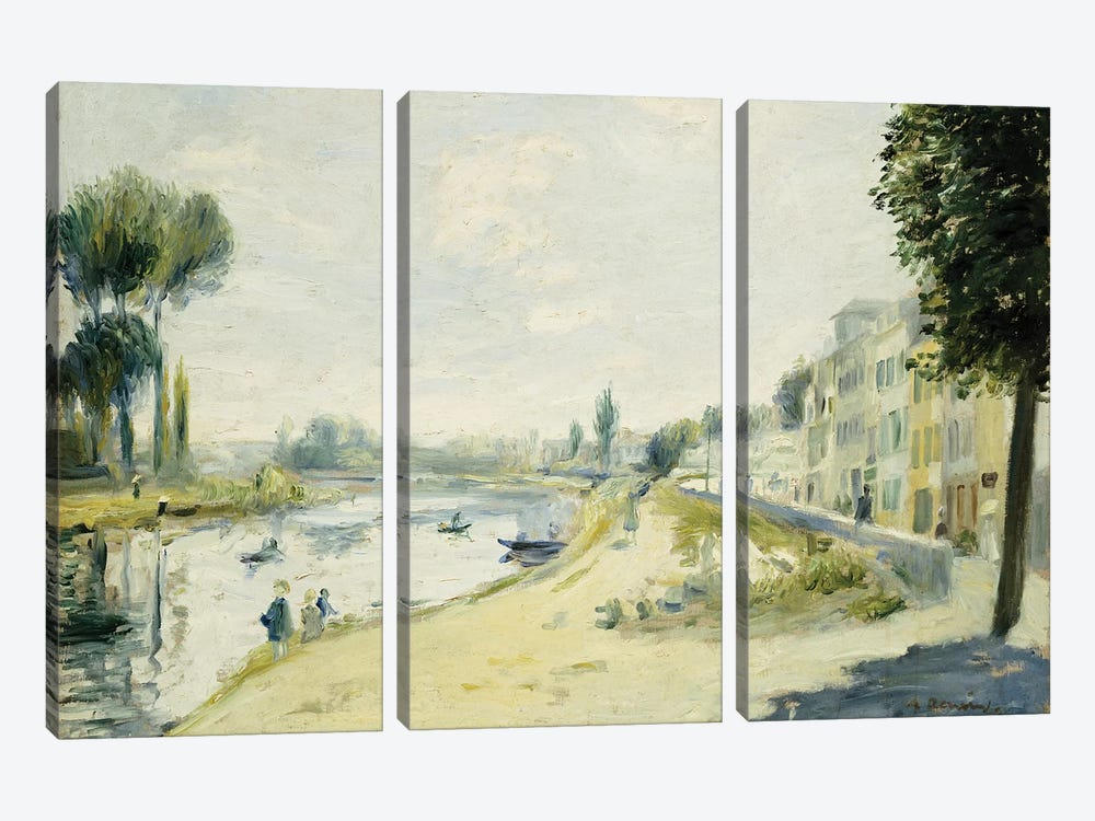 The Banks of the Seine at Bougival, c.1875  by Pierre-Auguste Renoir 3-piece Canvas Artwork