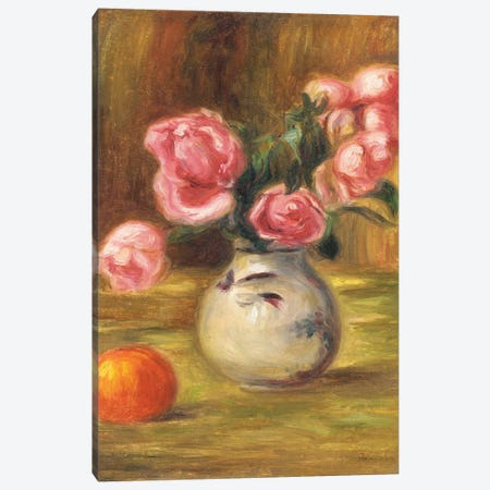 Vase of Roses and an Orange, 1910  Canvas Print #BMN5085} by Pierre-Auguste Renoir Canvas Artwork
