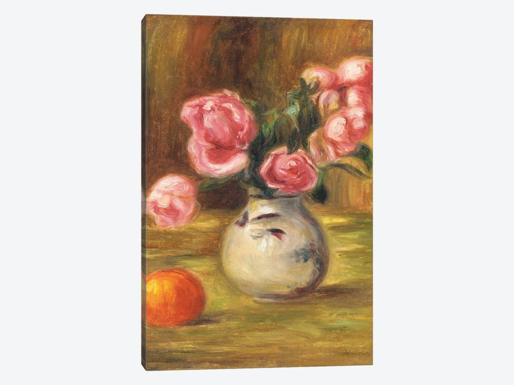 Vase of Roses and an Orange, 1910  by Pierre-Auguste Renoir 1-piece Canvas Wall Art
