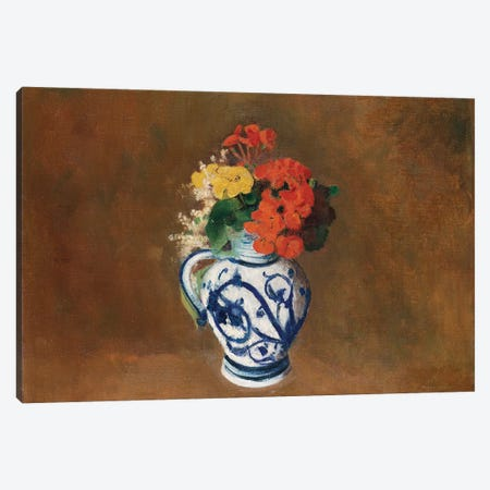 Flowers in a Blue Vase, c.1900  Canvas Print #BMN5086} by Odilon Redon Canvas Wall Art