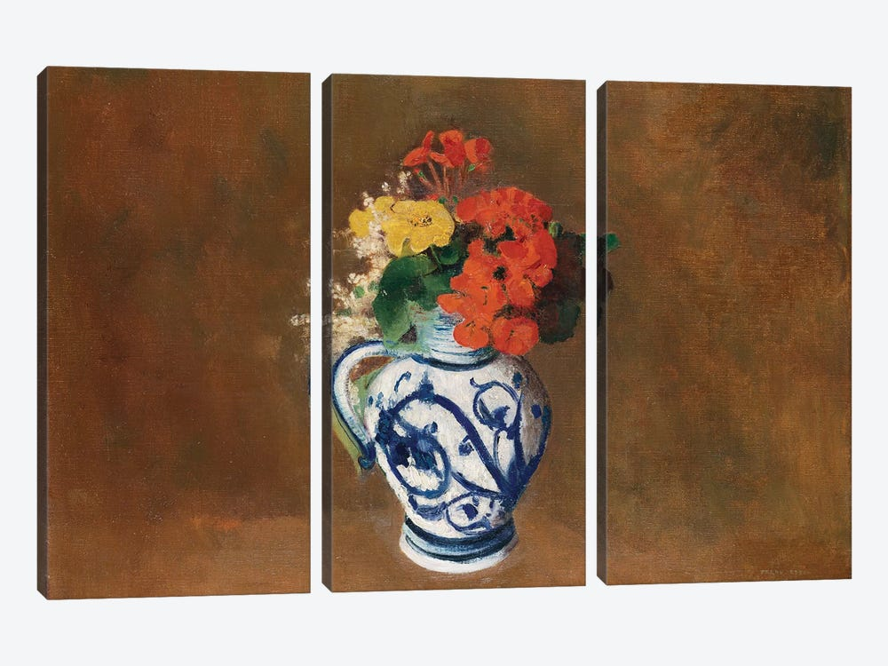 Flowers in a Blue Vase, c.1900  by Odilon Redon 3-piece Canvas Print