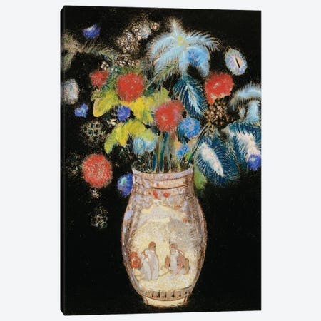 Large Bouquet on a Black Background, c.1910  Canvas Print #BMN5087} by Odilon Redon Canvas Artwork