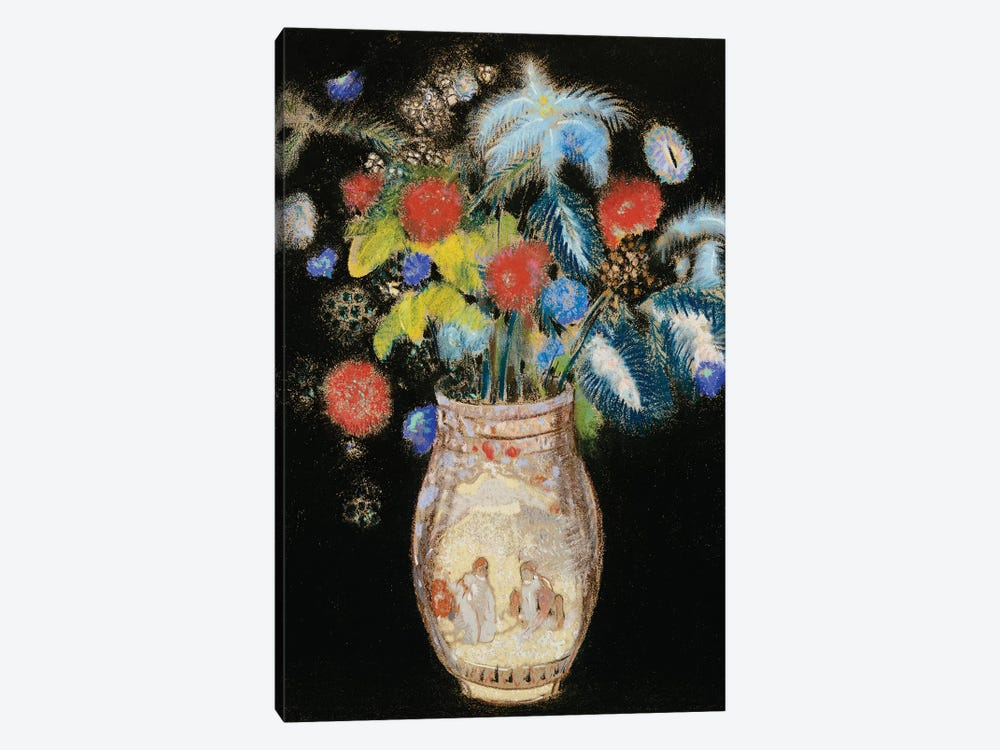 Large Bouquet on a Black Background, c.1910  by Odilon Redon 1-piece Canvas Wall Art