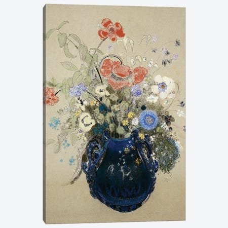 A Vase of Blue Flowers, c.1905-08  Canvas Print #BMN5089} by Odilon Redon Canvas Print