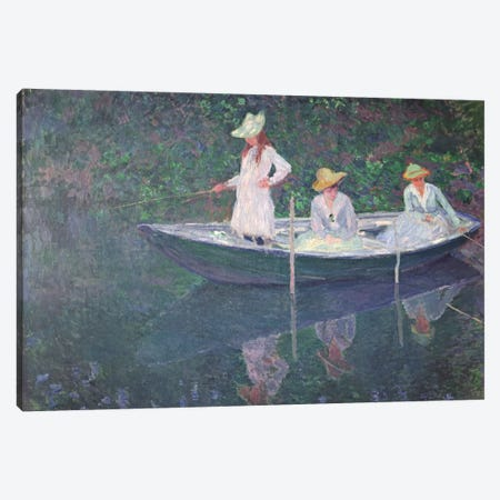 The Boat at Giverny, c.1887  3-Piece Canvas #BMN508} by Claude Monet Canvas Art Print