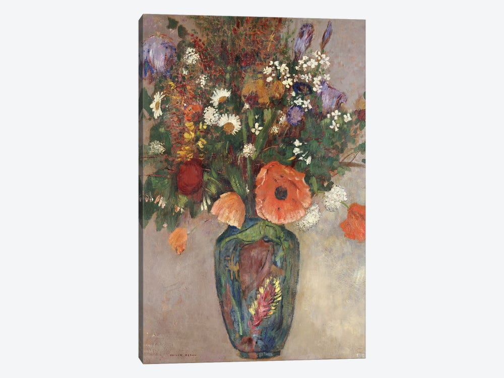 Bouquet of Flowers in a Vase by Odilon Redon 1-piece Canvas Art