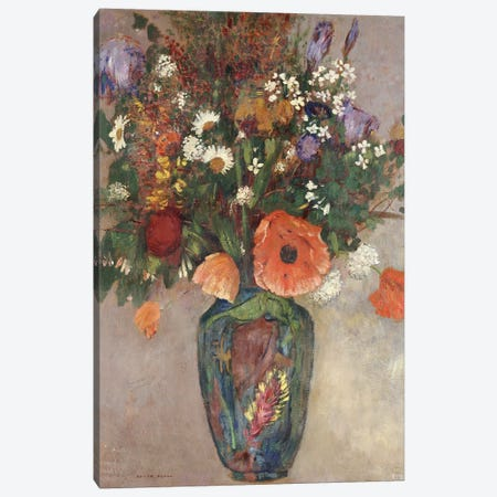 Bouquet of Flowers in a Vase 3-Piece Canvas #BMN5092} by Odilon Redon Canvas Wall Art
