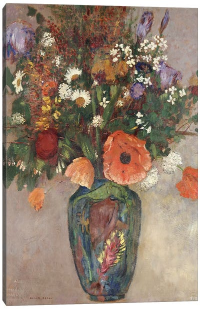 Bouquet of Flowers in a Vase Canvas Art Print