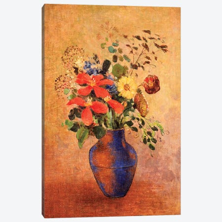 The Blue Vase  Canvas Print #BMN5093} by Odilon Redon Canvas Artwork