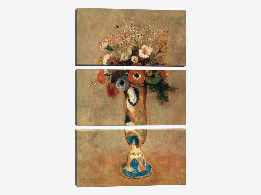 Vase of Flowers, 1912  by Odilon Redon 3-piece Canvas Art