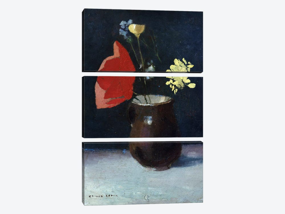 A Pitcher of Flowers by Odilon Redon 3-piece Canvas Artwork