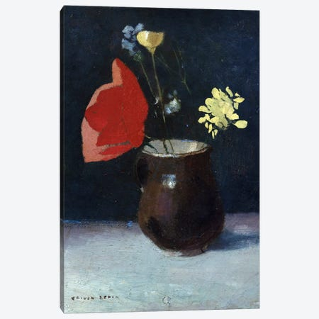 A Pitcher of Flowers Canvas Print #BMN5098} by Odilon Redon Canvas Art