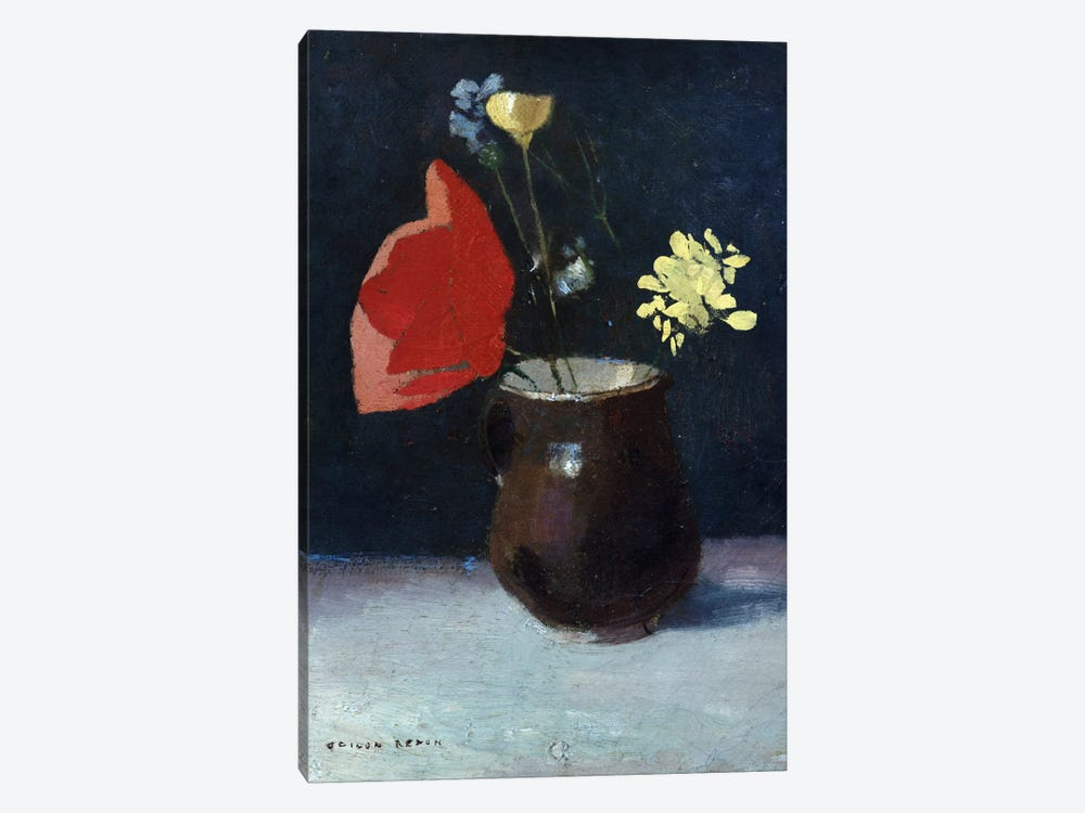A Pitcher of Flowers by Odilon Redon 1-piece Canvas Artwork