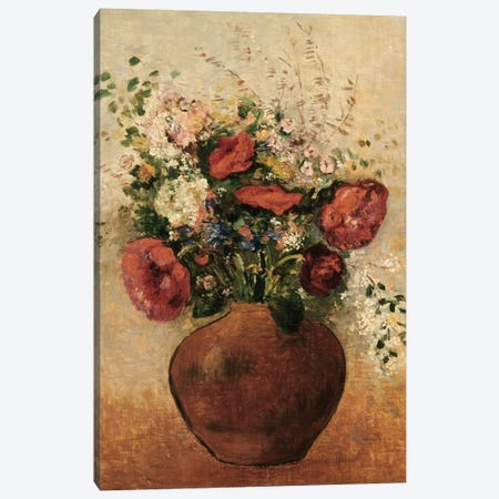 Vase of Flowers Canvas Print #BMN5099} by Odilon Redon Canvas Artwork