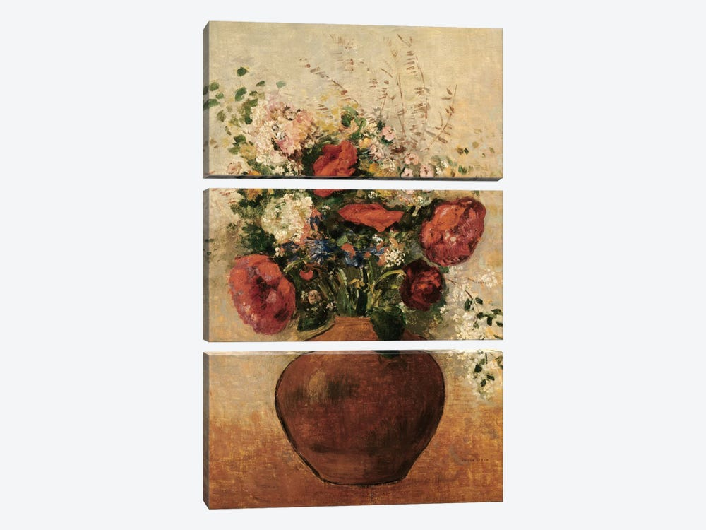 Vase of Flowers by Odilon Redon 3-piece Canvas Print