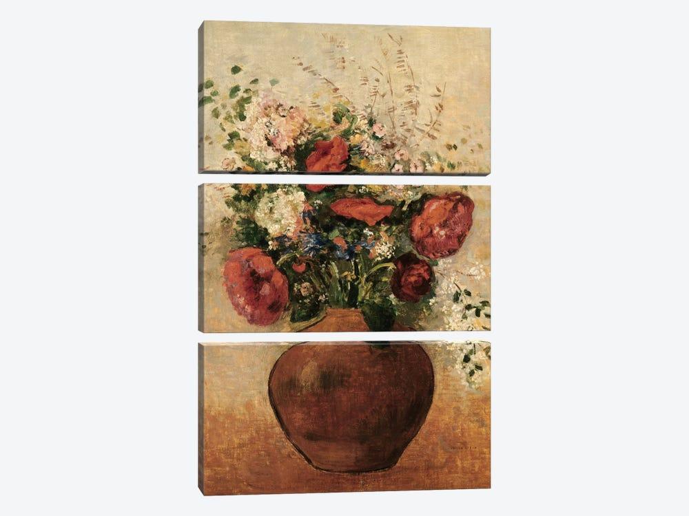 Vase of Flowers by Odilon Redon 3-piece Canvas Print