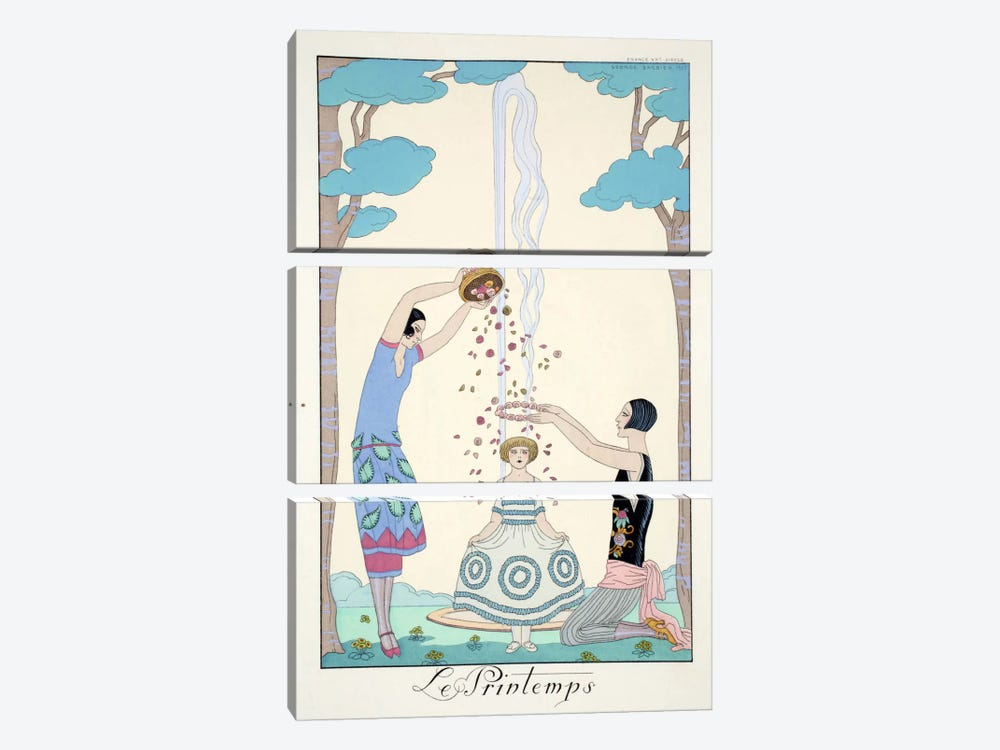 Spring, from 'Falbalas & Fanfreluches, Almanach des Modes Présentes by Georges Barbier 3-piece Canvas Art Print