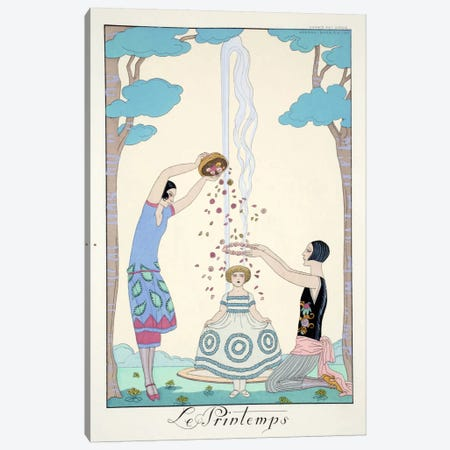 Spring, from 'Falbalas & Fanfreluches, Almanach des Modes Présentes Canvas Print #BMN50} by George Barbier Canvas Art Print