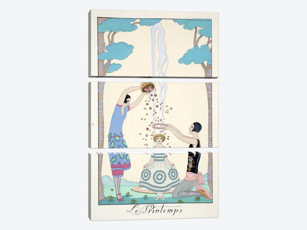 Spring, from 'Falbalas & Fanfreluches, Almanach des Modes Présentes by George Barbier 3-piece Canvas Art Print