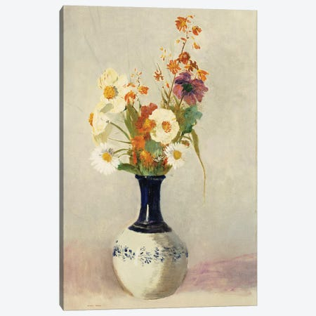 Flowers in a Vase 3-Piece Canvas #BMN5100} by Odilon Redon Canvas Wall Art