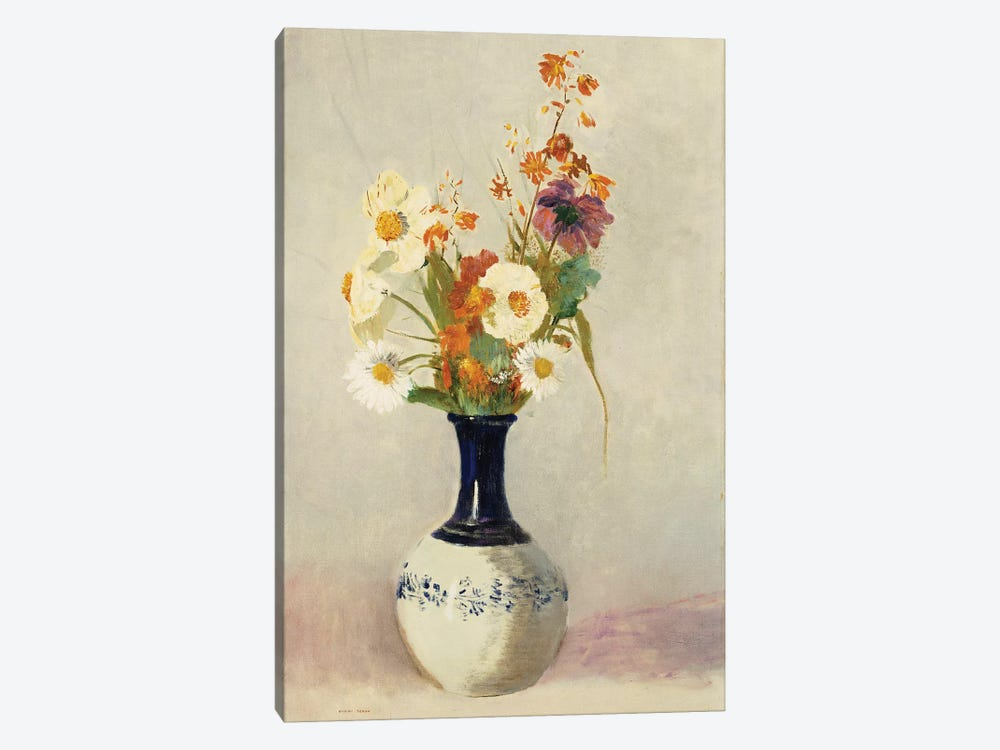 Flowers in a Vase by Odilon Redon 1-piece Canvas Wall Art