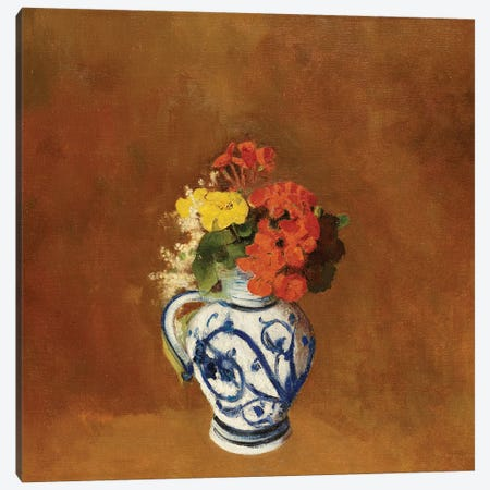 Geraniums and other Flowers in a Stoneware Vase  Canvas Print #BMN5101} by Odilon Redon Canvas Artwork