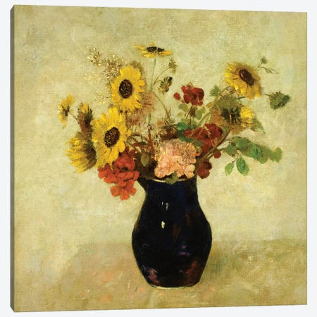 Vase of Flowers Canvas Print #BMN5102} by Odilon Redon Canvas Artwork