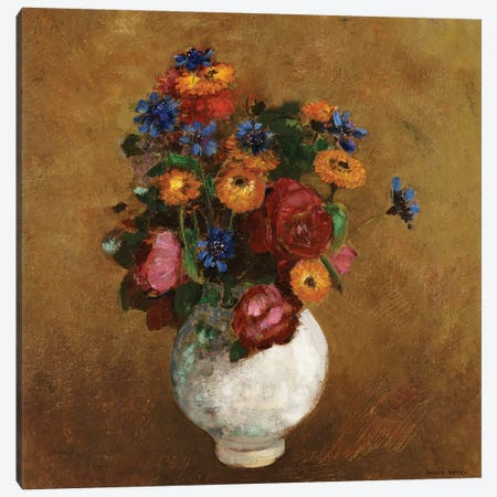 Bouquet of Flowers in a White Vase Canvas Print #BMN5103} by Odilon Redon Canvas Wall Art