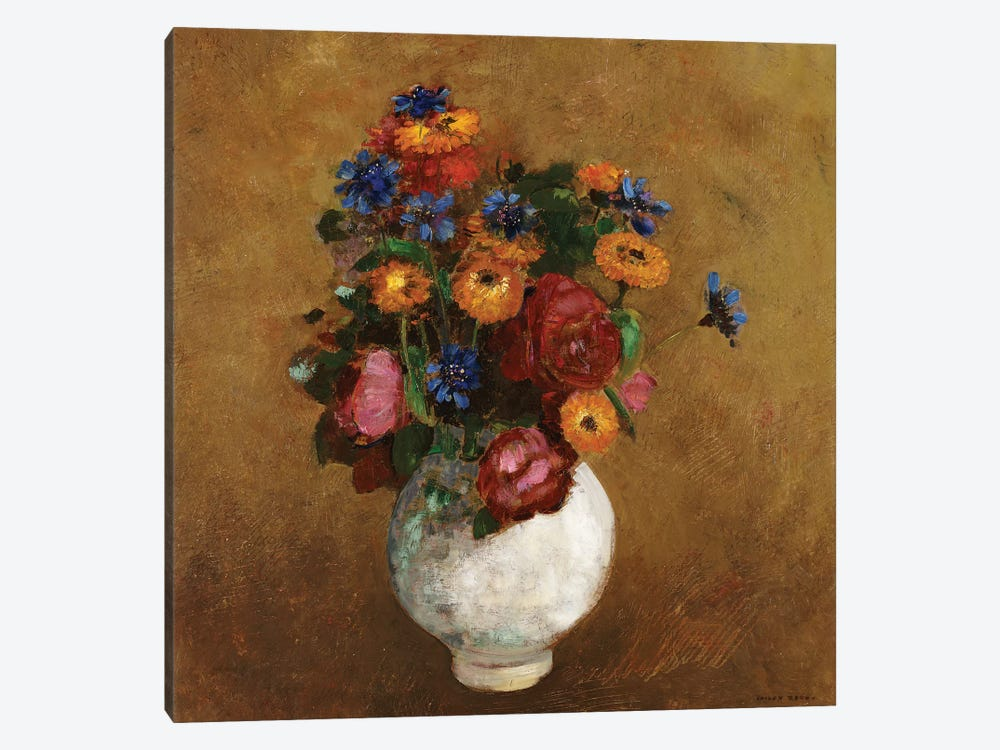 Bouquet of Flowers in a White Vase by Odilon Redon 1-piece Art Print