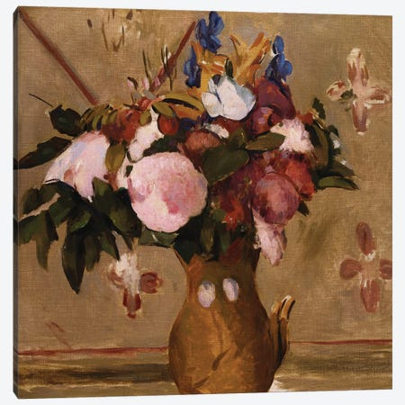 Flowers in a Vase, copy after a painting by Cezanne, c.1886  Canvas Print #BMN5104} by Odilon Redon Canvas Print