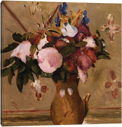 Flowers in a Vase, copy after a painting by Cezanne, c.1886  Canvas Art Print