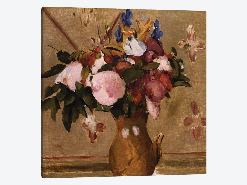 Flowers in a Vase, copy after a painting by Cezanne, c.1886  by Odilon Redon 1-piece Canvas Wall Art