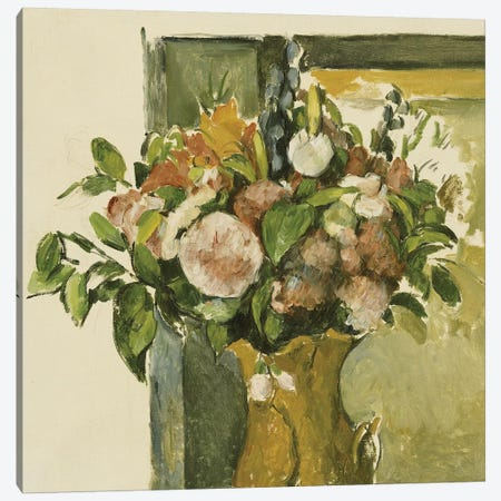 Flowers in a Vase  Canvas Print #BMN5109} by Paul Cezanne Canvas Wall Art