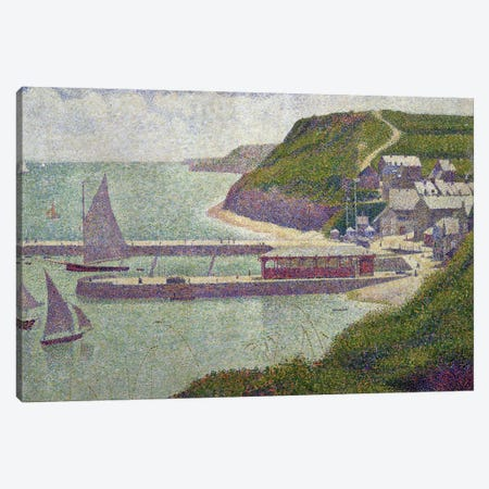 Harbour at Port-en-Bessin at High Tide, 1888  Canvas Print #BMN510} by Georges Seurat Canvas Artwork