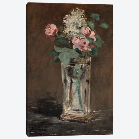 Flowers in a Crystal Vase  Canvas Print #BMN5112} by Edouard Manet Art Print