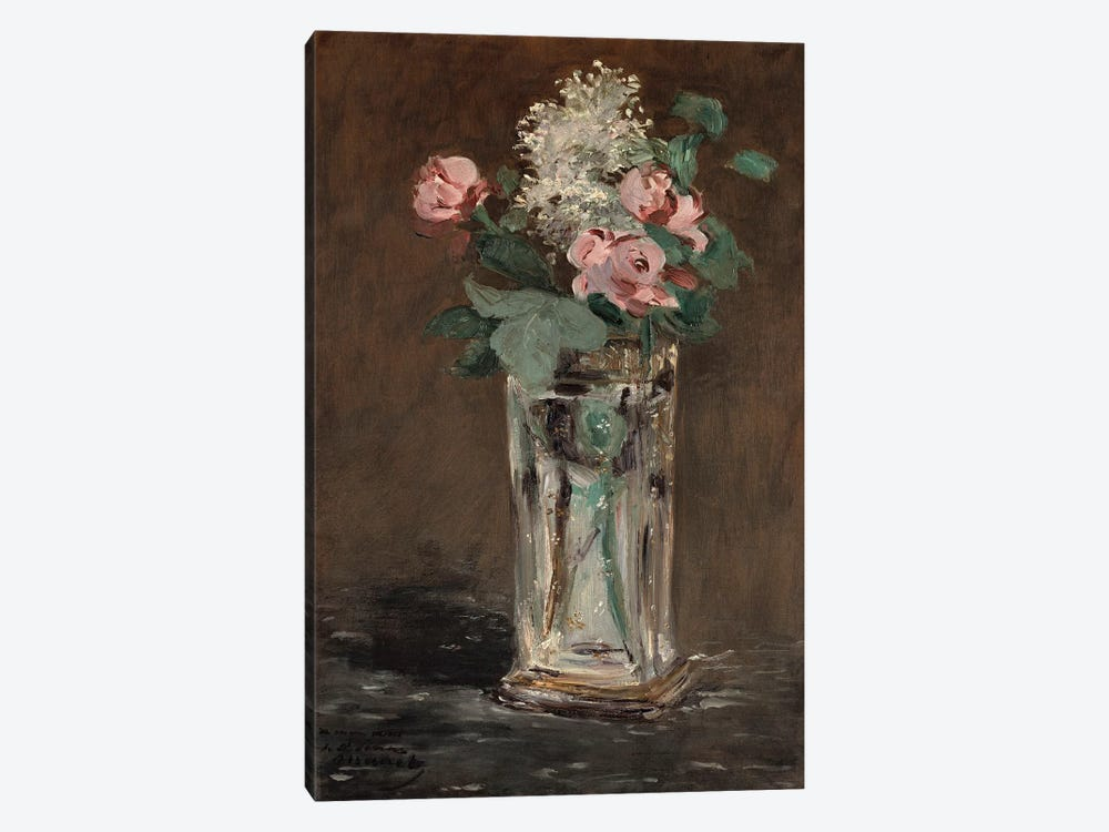 Flowers in a Crystal Vase by Edouard Manet 1-piece Canvas Print