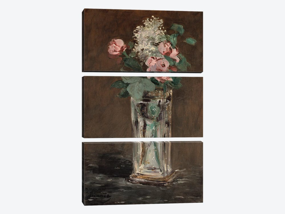 Flowers in a Crystal Vase by Edouard Manet 3-piece Canvas Art Print