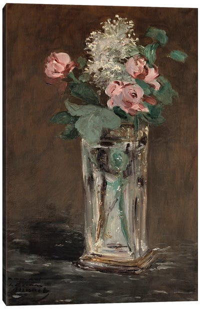 Flowers in a Crystal Vase  Canvas Art Print