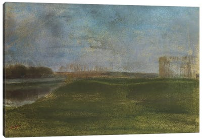 Meadow by the River by Edgar Degas Canvas Art Print