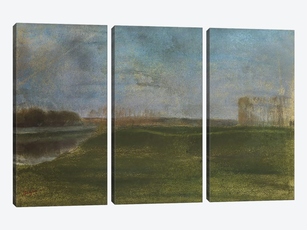 Meadow by the River  by Edgar Degas 3-piece Canvas Art