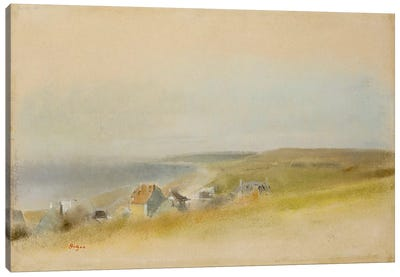 Houses on the Cliff Edge at Villers-sur-Mer, 1869 Canvas Art Print