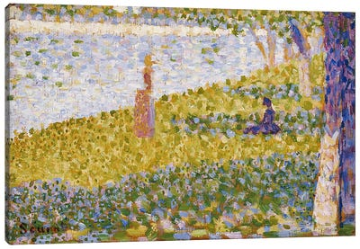 Women on the River Bank, c.1884-85 by Georges Seurat Canvas Wall Art
